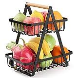 HQQNUO Fruteros,Frutero 2 pisos,Cesta de frutas y vegetales de metal,Frutero multifuncional de hierro, para más espacio en la encimera