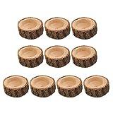 perfeclan 10 Unids Madera Candelero de Tronco Cortado Base de Velas sin Humor - 6x2.5cm