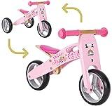 BIKESTAR 2 in 1 Bicicleta sin Pedales Madera para niños y niñas Bici Ajustable 7 Pulgadas | Bicicleta y Triciclo Mini a Partir de 1-1,5 años | 7' Edición Sport Rosa