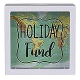 OOTB Hucha Blanca de Plástico, Holiday Fund, Diseño Mapa del Mundo, 15 cm