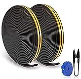 RATEL Tira de Sellado Junta de 30 m(4 x 7.5 m), Goma burlete para Puerta Ventana colisiones Resistente al Agua Autoadhesiva con 1 tijera y 1 cinta métrica para bloquear grietas y huecos (Negro)