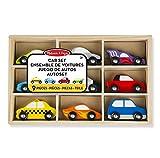 Melissa & Doug- Wooden Cars Set-9 Pieces Car, Multicolor (13178)