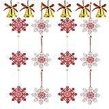 YOUYIKE 18 Piezas Ornamentos de Navidad,12 Colgantes de Madera Copo de Nieve para Navidad,6 Campana de Navidad,Colgantes Árbol de Navidad Kit para DIY Manualidades, Fiesta, Ventana