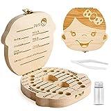 Caja para guardar dientes para niños y niñas, Regalo para niños en madera de souvenir, Acumulación de dientes (Niña)