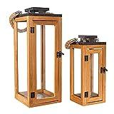 Gadgy Faroles De Decoracion   Set de 2   Farolillos para Velas Grandes   Metal Negro, Vidrio Y Madera   Accesorios Decorativos Para El Hogar