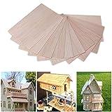 10 hojas de madera de balsa para manualidades, modelo de madera, para bricolaje, aviones, barcos, 150 mm x 100 mm x 2 mm (#1)