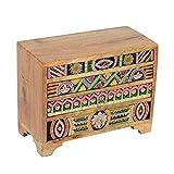 Casa Moro | Bagira Oriental Mini-Commode 28x13x22cm (A/P/A) de madera real con 4 cajones de colores |Caja de madera pintada a mano en estilo africano | Decoración original de la idea del regalo| RK106