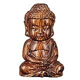 Jixista Escultura de Buda de Madera Tallado Buda Pieza Estatua Buda Pequeño MonjeMadera sólidas de Sakyamuni Buddha decoración Adornos Adornos de CocheArtesanía De Madera Colección