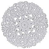 Hogar y Mas Retablo Decorativo para Pared en Madera Tallada, Color Blanco con Diseño Mandala 40X2X40 cm