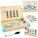 Jojoin Juego Tablero de Rompecabezas de Madera Lógico, Juguete Montessori de Madera Tablero Doble Lado con 10 Tarjetas de Patrón, Reloj de Arena, Pizarra y Rompecabezas Magnéticas de Figuras y Números