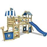 WICKEY Parque infantil de madera StormFlyer con columpio y tobogán azul, Casa de juegos de jardín con arenero y escalera para niños