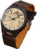 Relojes Hombre Alskafashion Reloj Madera Personalizado Foto y Grabado Punteros Luminosos Cuarzo con Correa Cuero Regalo para Familia Hombre Mujer Amigo Pareja (Dark Brown)