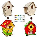 NC Pajarera de madera de Maque, 2 piezas, DIY para niños, juego de pajareras creativas para cumpleaños infantiles y festivales, jardín, artesanía exterior, regalos de juguetes