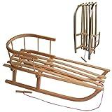 rawstyle–Trineo de madera con respaldo + Remolcador–Niños trineo trineo de madera niños trineo