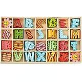 112 letras madera natural letras de rompecabezas de madera de la A a la Z, 26 Alfabeto Madera, adecuado para la decoración del hogar de bricolaje la escuela