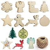 Adornos Madera Arbol Navidad (64 Piezas) - 8 Formas x 8 Piezas Decoración Árbol de Navidad de Madera Lisa - Decoraciones de Navidad con Cordel Manualidades Navidad – Colgantes para Decor de Fiesta