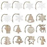 Ulikey 26 Piezas Colgantes de Madera para Navidad, Copo de Nieve de Madera de Navidad Ornamentos de Navidad, Adornos Colgantes Navidad Madera para Arte Fiesta Decoración de árbol de Navidad (D)