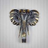 Rococo Figura Elefante de Pared Tallada en Madera Maciza de 50x45cm Negro y Oro