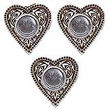 Pack x 3 - Candelabros decorativos de velas en forma de corazón. Decoracion madera para el hogar/oficina. Decoracion hindu elaborada 100% a mano.