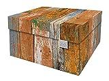 Cajas de almacenamiento decorativas con tapa – Tamaño: 38,9 x 31,8 x 21,1 cm – Cajas de almacenamiento con tapa – Cartón reciclable certificado FSC (Impresión: Scrapwood)
