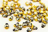 100 Piezas Etiqueta Engomada En Forma De Abeja amarilla De Madera y Esponja