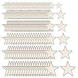 Globaldream Tamaño Mixto Estrellas de Madera 210 piezas Estrellas de Madera Acabado Rebanadas de Madera Discos para Artesanías de Bricolaje Embellecimiento del Festival de Boda