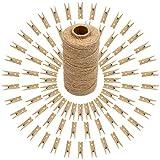 100pcs Pinzas de Madera Pequeñas Decorativas para Fotos 3,5cm + 100M Cordel Yute para Decoración, Artesanía