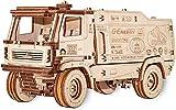 EWA Eco-Wood-Art Camión de Carreras 5309RR-Rompecabezas mecánico 3D de Madera-Rompecabezas para Adultos y Adolescentes-Montaje sin pegamento-278 Piezas-Escala 1:30, Color Naturaleza (MAZ 5309RR)