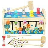 jerryvon Juguetes Montessori Banco de Martillo Juguetes Niños Madera con Xilófono & Laberinto 3 en 1 Martilleo de León Educativos Juegos Regalos para Niños Niñas 3 4 5 Años