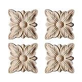 Bverionant - 4 piezas de madera tallada, adorno para puerta, armario, ventana, bricolaje, muebles