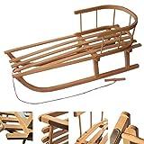 Rawstyle - Trineo de madera con respaldo y cuerda para niños y adultos (90 cm)