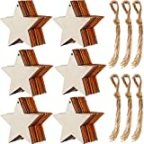 60 Piezas de Estrella de Madera Natural Adornos de Estrella de Madera y 60 Piezas de Cordel Natural para Decoración de Navidad Fiesta de Hogar