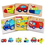 6 Piezas Puzzles de Madera de Vehículo Educativos para Bebé Rompecabezas de Formas Juguetes (6pcs Rompecabezas vehículos)
