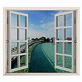 Copechilla Mosquitera ventana 1.2m x 1.3m gris,con correa adhesivo,fácil instala y puede lavar y duradero,para interior,exterior,plástico,madera,aluminio de la ventana