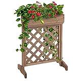Outsunny Jardinera con Enrejado de Madera Maciza Soporte para Flores Plantas Trepaderas Balcón Patio Jardín al Aire Libre 68x30x85,5 cm Marrón