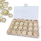 munloo Botones De Madera 150 Piezas, Botones Madera with Redondos con 2 Agujeros Botones Manualidades para Coser y Decoraciones de Fabricación 15mm 20mm 25mm(Amarillo)