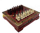 CTDMMJ Guerreros de Terracota clásicos Tablero de ajedrez de Madera Rompecabezas Personajes de Dibujos Animados Juego de Tablero de ajedrez Adolescente Regalo de cumpleaños para Adultos