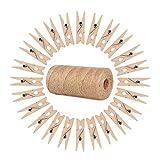 ewtshop 100 minipinzas de madera + 100 metros de cuerda de yute, pinzas de la ropa, mini pinzas de madera, pinzas decorativas, tamaño: 2,5 cm aprox.