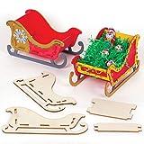 Baker Ross Kits Trineo de madera (paquete de 5) - Artes y manualidades navideñas