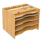 SONGMICS Archivador de Bambú, Clasificador de Papeles con 5 Estantes Ajustables, Organizador de Sobremesa para Documentos, Cartas, Compartimentos de Almacenaje Superiores, Grano Natural OFS44Y