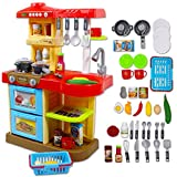 deAO Cocinita de Juguete Mi Little Chef con 30 Accesorios Incluidos, Color Rojo