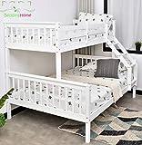 Litera triple y doble de madera maciza para niños, de color blanco y gris, triple cama, nivel superior, de doble nivel inferior (blanco, litera triple)