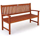 Deuba Banco de jardín 'Maxima' resistente de madera de Eucalipto 3 plazas 152x55x90cm interior exterior Jardín Terraza