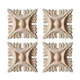 Surui 4 piezas de madera tallada muebles applique adorno tallado adorno para puerta casa puerta decoración DIY hecho a mano 5 x 5cm #2