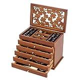 COSTWAY Caja para Joyas con 5 Cajones para Pendientes Collares Pulseras Joyero Organizador de Madera (Marrón)