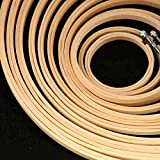 Lote de Bastidores Bambu de Punto de Cruz redondos y Lisos - Arte e Manualidades 10 Piezas de diferentes tamaños - Aros de Bordar y Costura a Mano - Kit de Aros circulares de madera de Bamboo Bambú