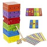 Torre Bloques de Madera Infantil,Juego de Mesa Divertido, Educativo a Partir de 3 Años, Numeros en Ingles ,Incluye 3 Sticks para Numerar Las Piezas.