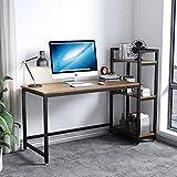Dripex Mesa Escritorio Ordenador con Estantes Reversibles, Escritorio de Esquina con Almacenamiento, Mesa Estudio PC 126x60x108cm,Moderno, Resistente y Estable, Mesa Madera Oficina casa,Nogal Claro