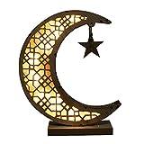 Luna Luz Nocturna Ornamental Ramadan Eid Mubarak Ornamento de Madera LED Luz Nocturna Musulmán Lámpara de Mesa Artesanal Decoración para Eid Musulmán Eid Al-Fitr Festivals Home Party
