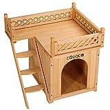 Deuba Cadoca Caseta para Perros y Gatos Perrera con terraza balcón de Madera 66x53x64cm caseta de 2 Pisos para Interior